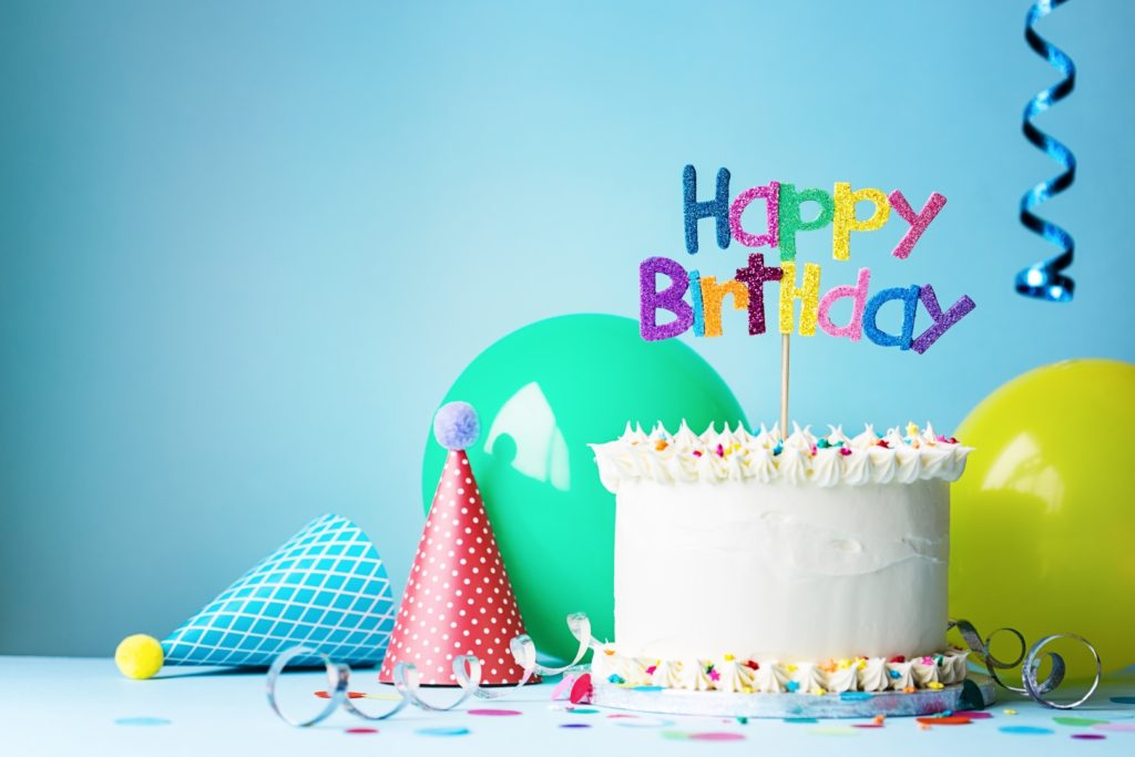 Birthday cake greeting ribbons cones 1024x683