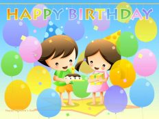 Cartoon Children Celebrate Birthday Party Wallpaper