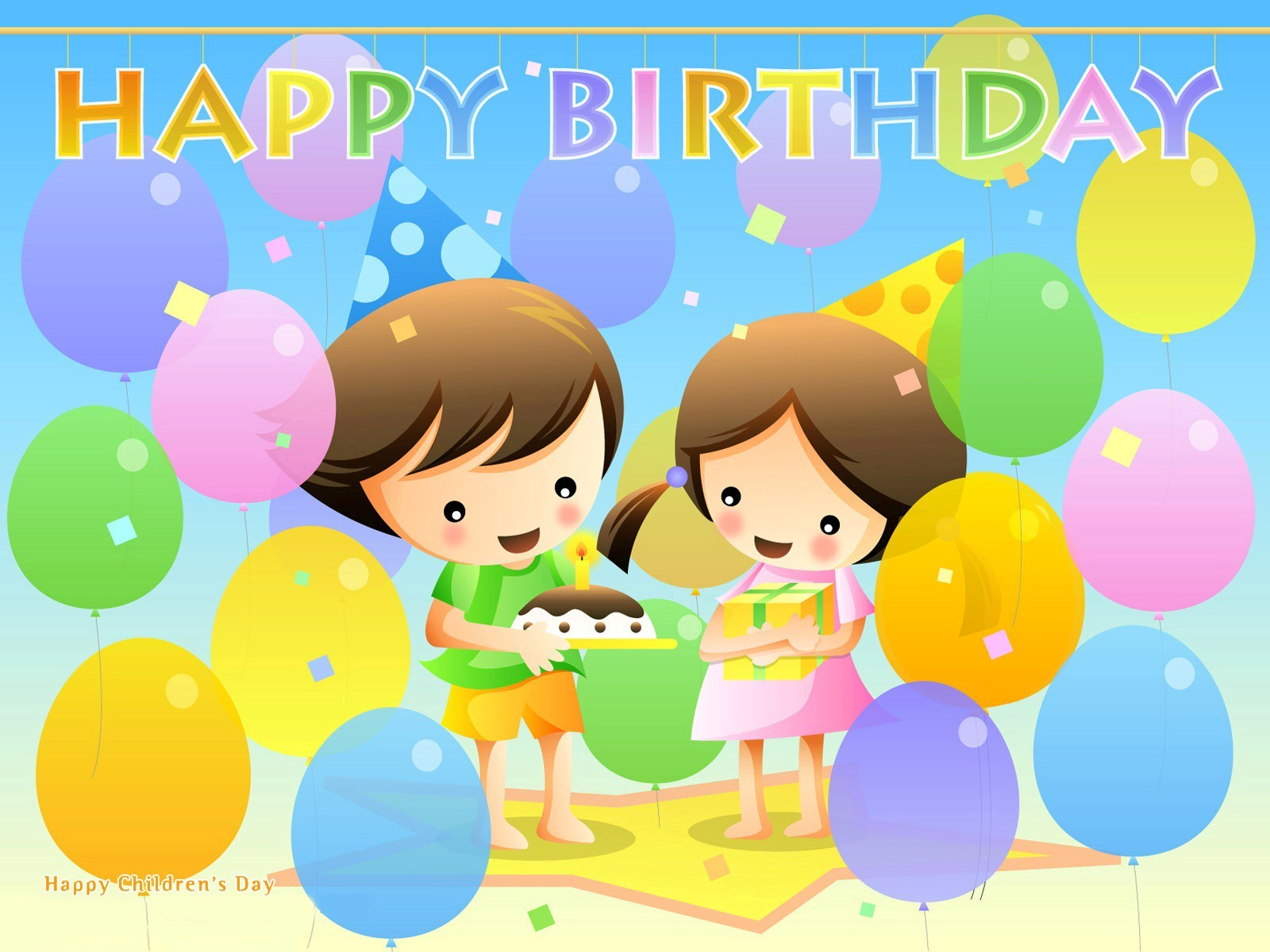 Cartoon Children Celebrate Birthday Party Wallpaper Happy Pictures Images Pics