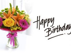 Good Birthday flowers bouquet and greeting