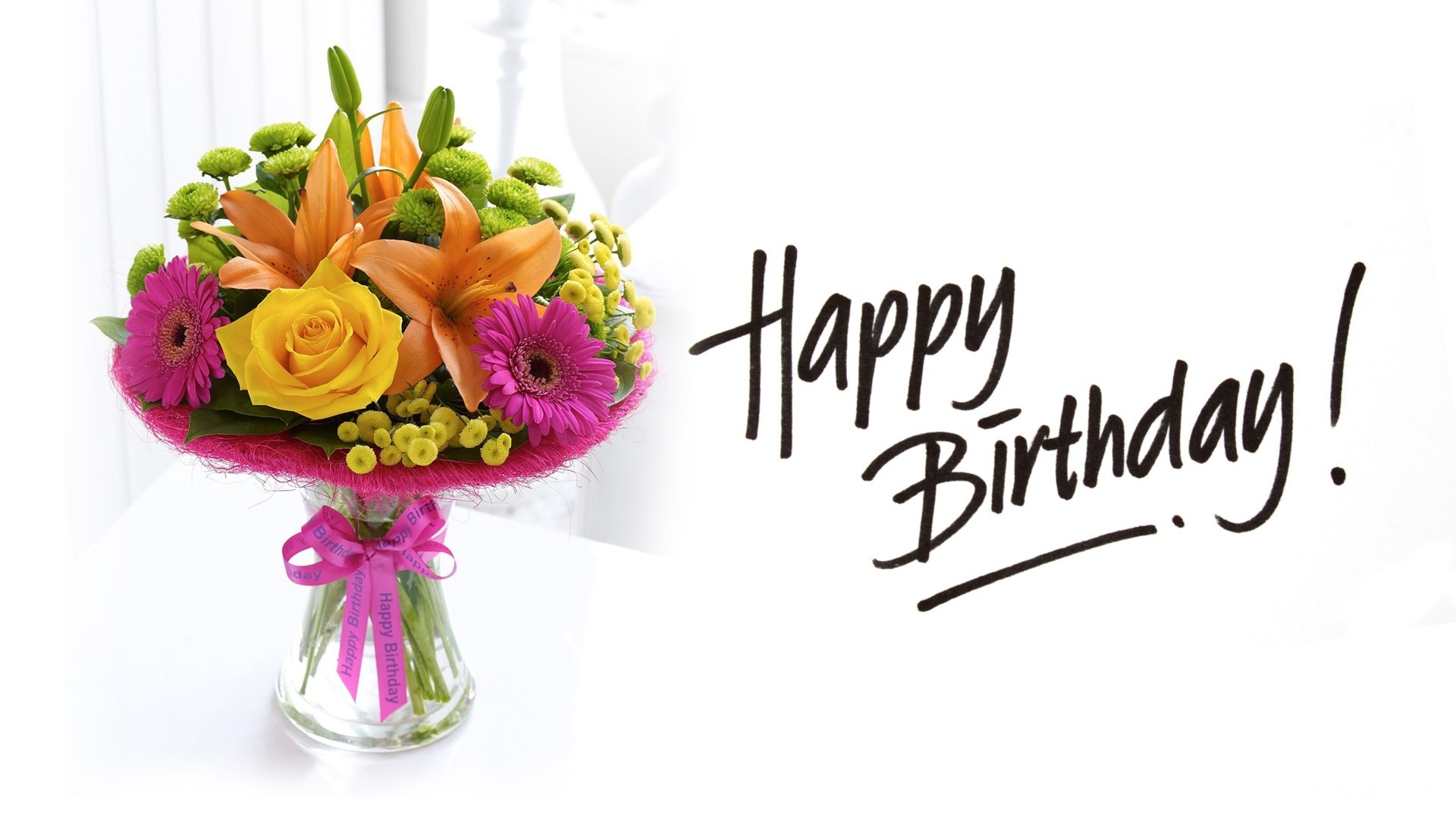 Good Birthday flowers bouquet and greeting- Happy Birthday pictures ...