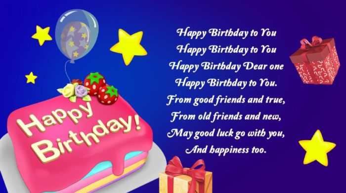 Happy Birthday picture with text congratulation 700x391