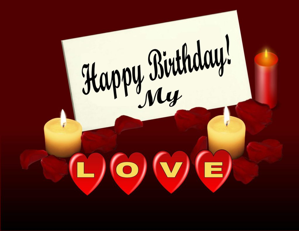 Happy birthday my love red greeting card 1024x791