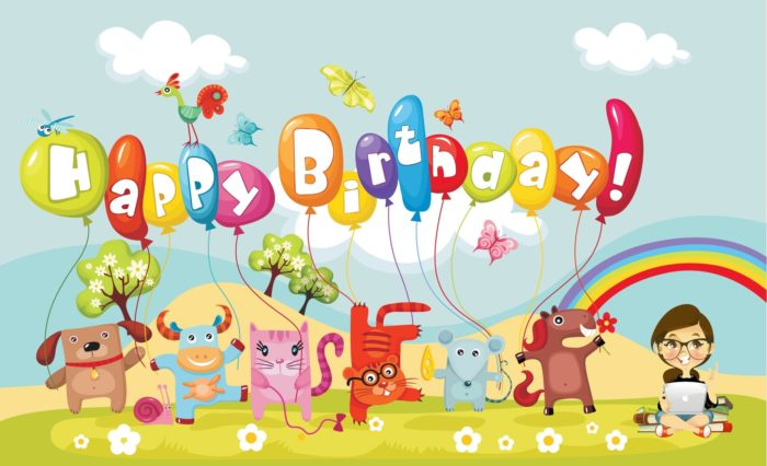 Happy Birthday Cartoon Celebration for Kids Wallpaper 700x426