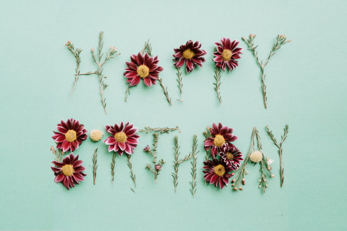 Minimalist Happy Birthday greeting with flowers