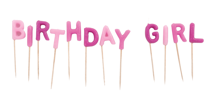 Pink Birthday Girl letters on the sticks