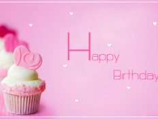 Pink Happy Birthday wide HD wallpaper