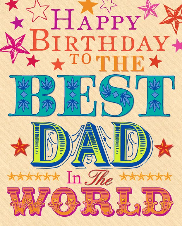 Simpley Happy Birthday greeting to the best dad in the world