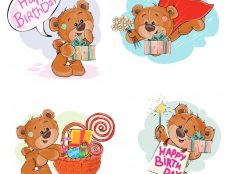 Teddy Bears wishes Happy Birthday clip art compilation