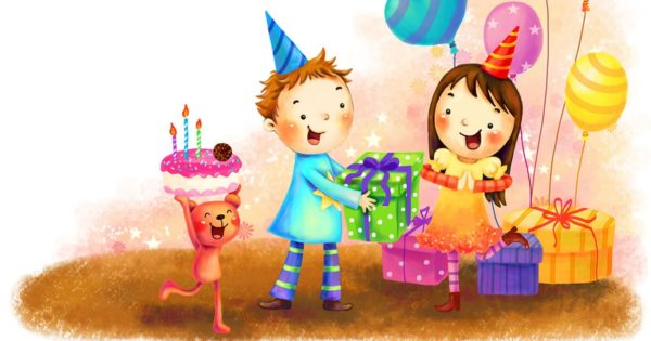 happy birthday cartoon celebration for kids wallpaper 1 600x315