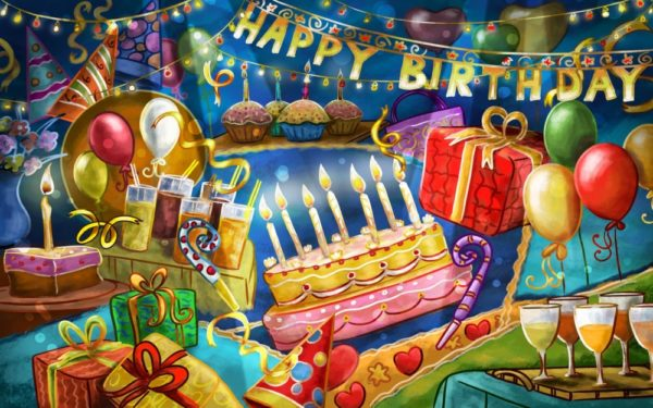 happy birthday cartoon celebration for kids wallpaper 3 600x375