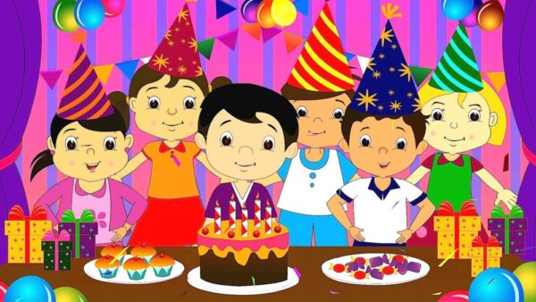 happy birthday cartoon celebration for kids wallpaper 4 600x338