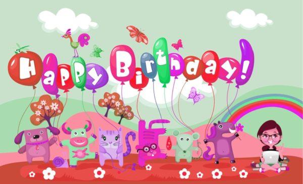happy birthday cartoon celebration for kids wallpaper 5 600x365