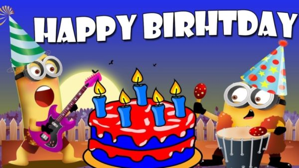 happy birthday with minions 600x338