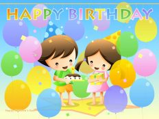 Boy and girl celebrating birthday (wallpaper)
