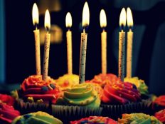 Cupcakes with candles (atmosphere)