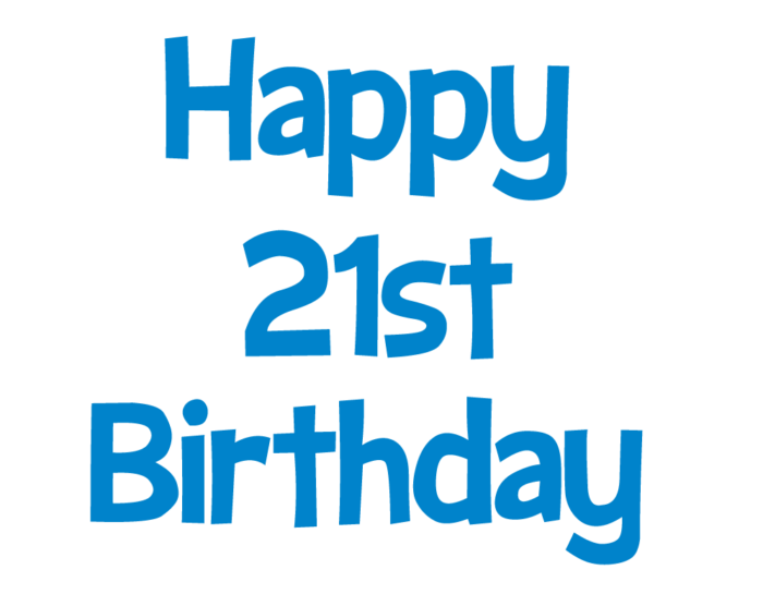 Happy 21st Birthday picture (blue clip art)