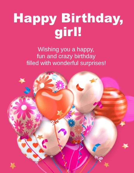 Happy Birthday girl (pink card with wishes)