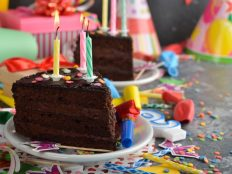 Pieces of birthday cake (birthday celebration atmosphere)
