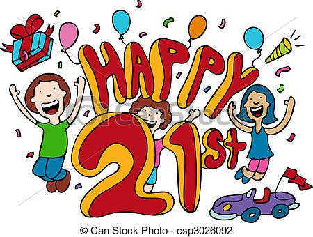 happy 21st birthday picture blue clip art 3