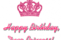Happy Birthday Dear Princess (pink crown, greeting)