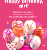 Happy Birthday girl cards with wishing 163x210 163x174