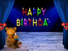 Happy Birthday, Bear red blue colorful