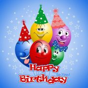 Happy birthday colorful balls
