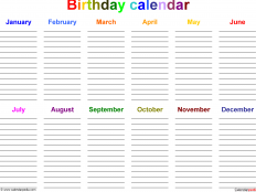 Happy Birtday Calendars Images
