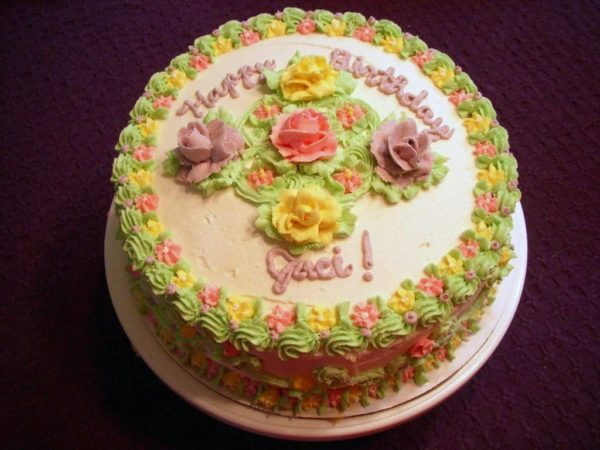 Happy Birthday Cake with Yellow Flowers