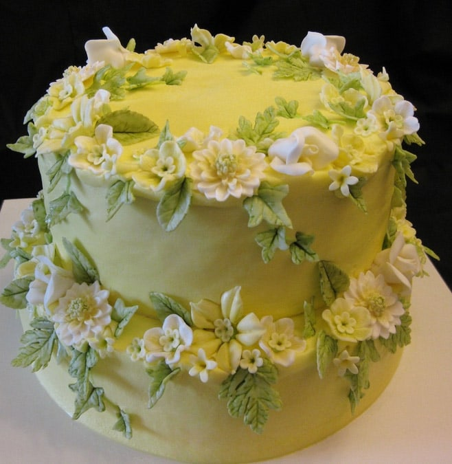 Happy Birthday Cake with Flowers