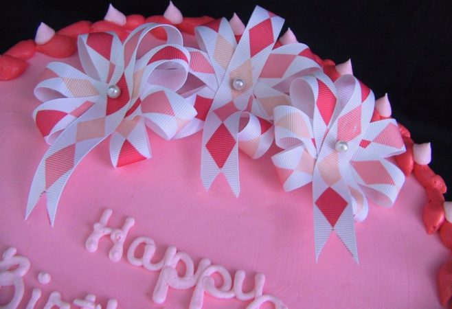 Pink Happy Birthday Cake with Flower
