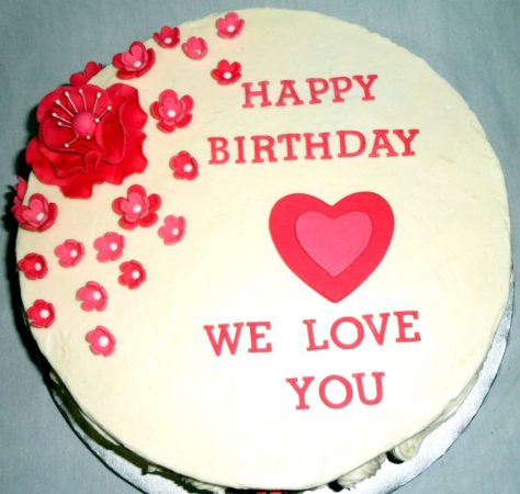 Happy Birthday Cake with Heart Image
