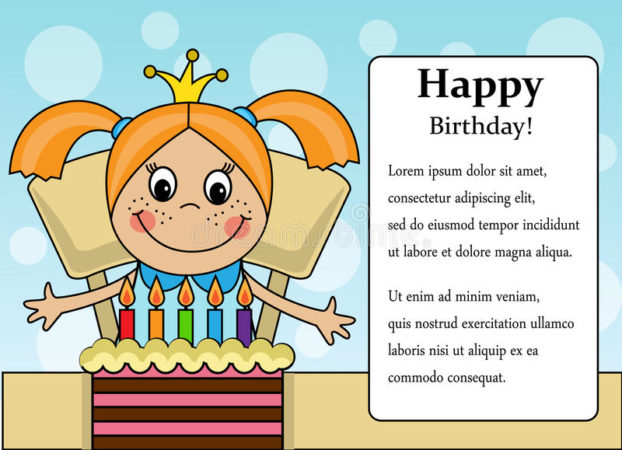 happy birthday girl cartoon background cake place text 57657577 622x450